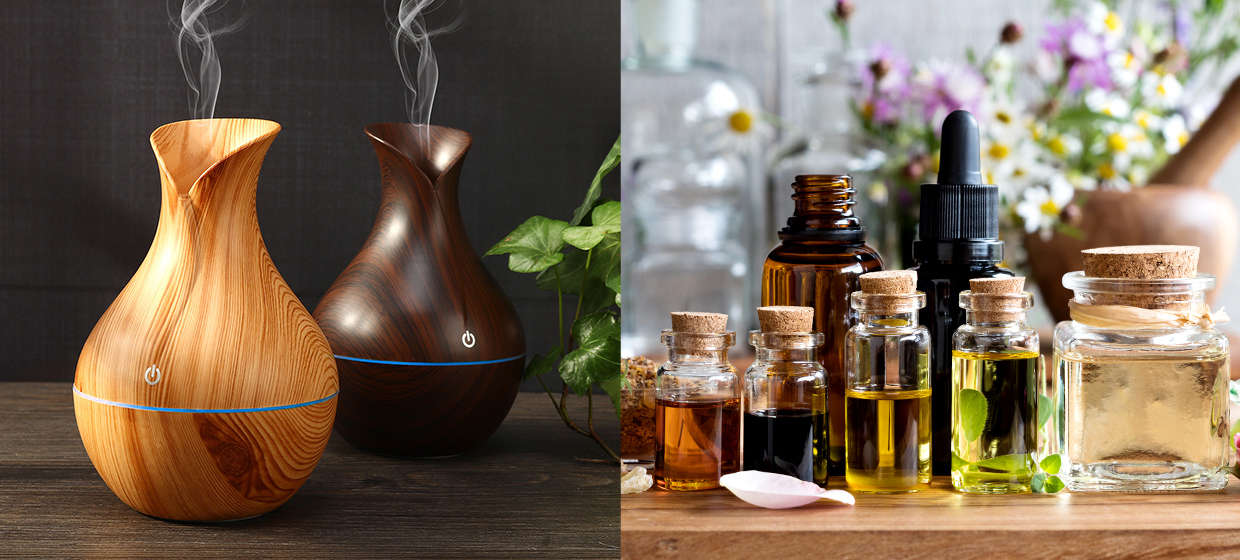 Split image showing wood diffuser on left and bottles of essential oils on the right