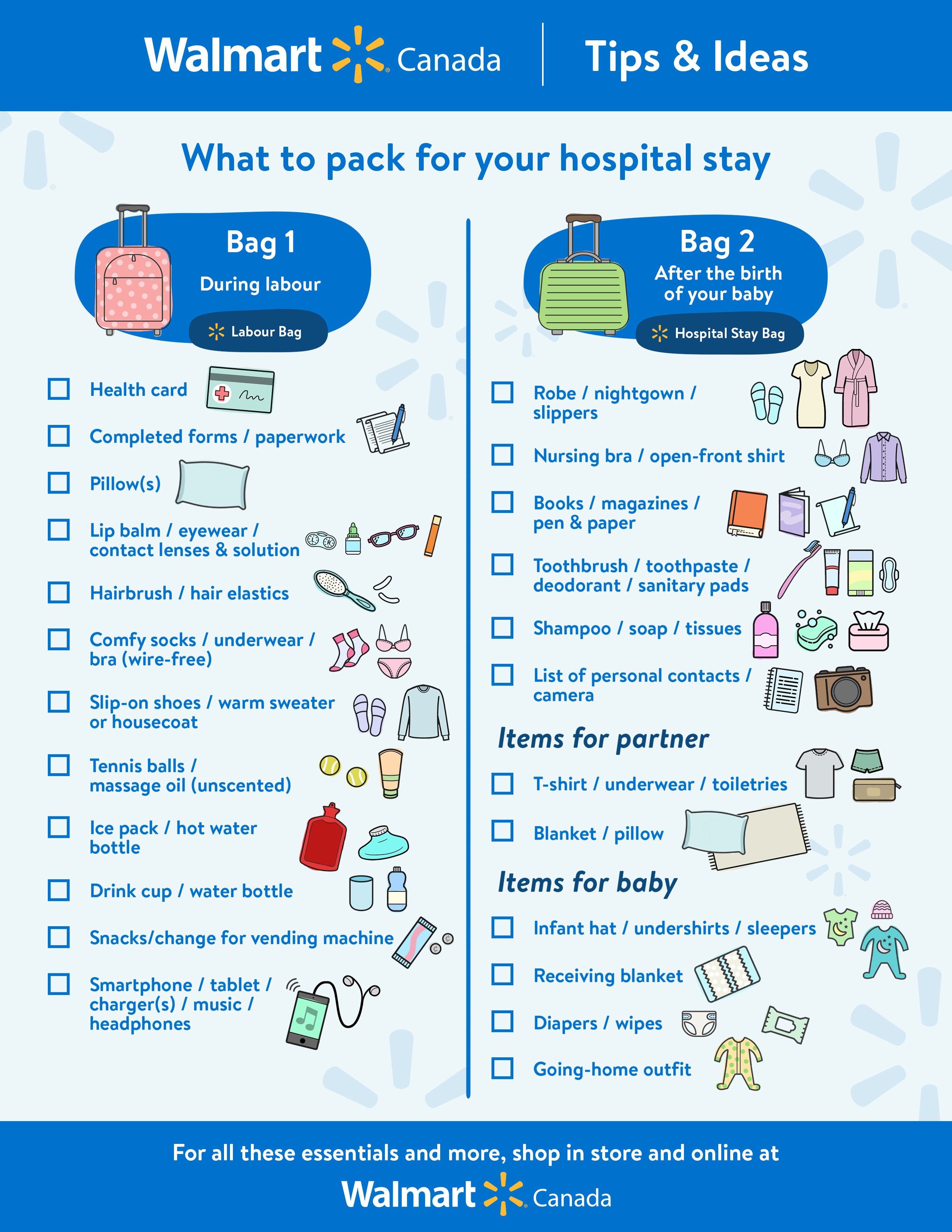 graphic relating to Printable Hospital Bag Checklist for Labor and Delivery identify Medical center Bag Record: For Mother and Little one Walmart Canada