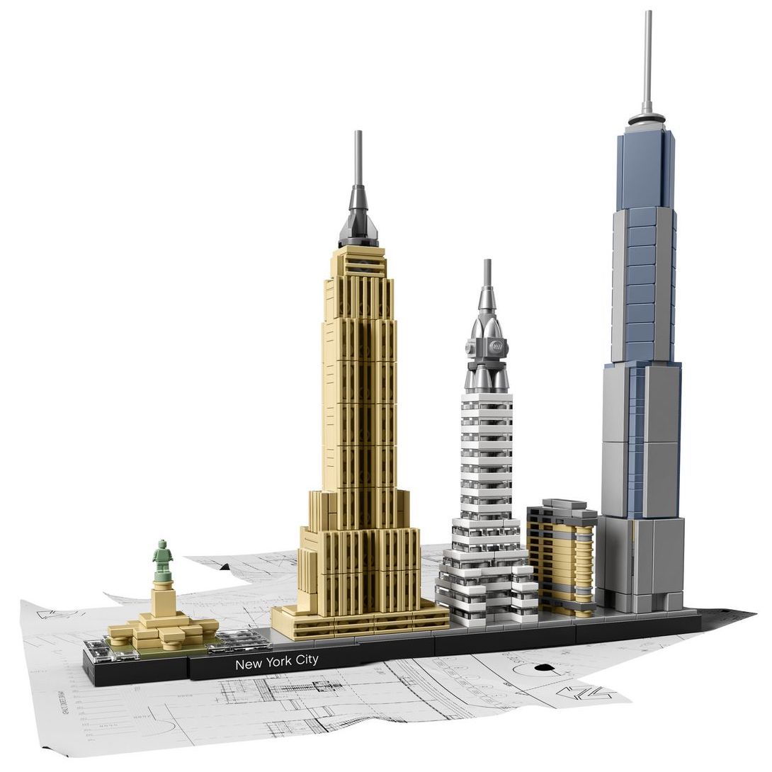 Lego Architecture New York City building set with New York City skyline