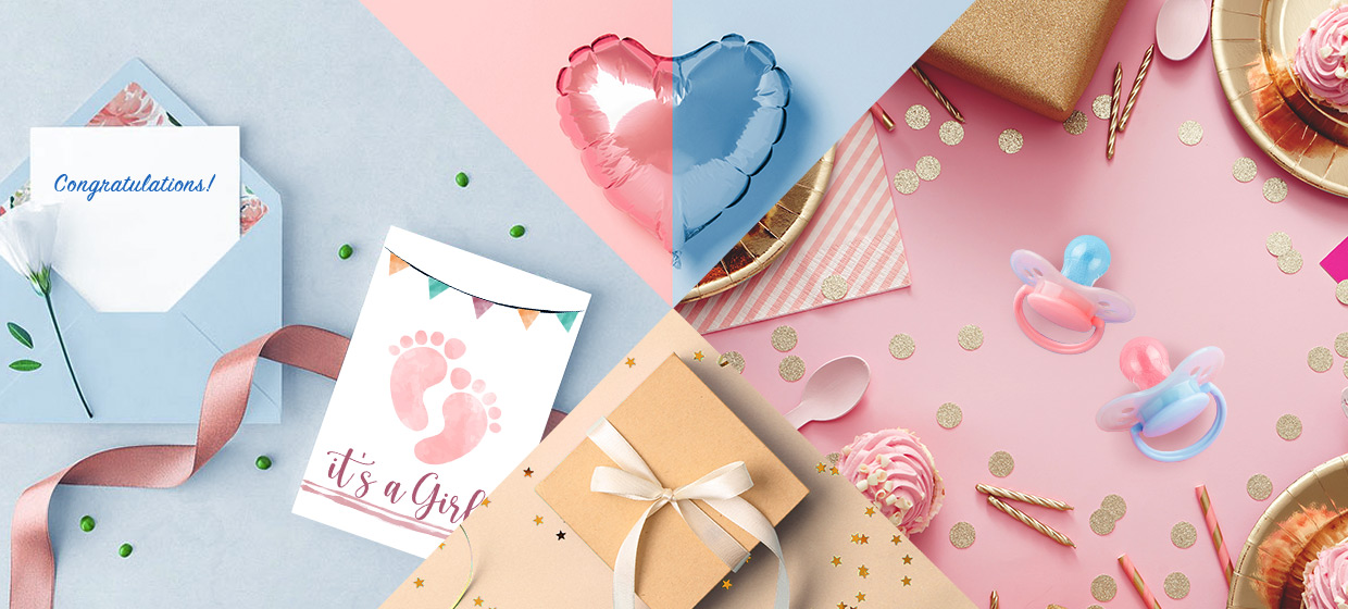Image divided into four quadrants including a pink and blue balloon, gift, baby shower invitation and party decor