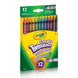 12 erasable twistable coloured pencils