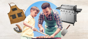 Father barbecuing with his son with barbecues and accessories around them on tan background
