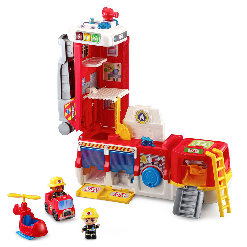 VTech Helping Heroes Fire Station - : Red multi-level fire station with fire hose, rescue ladder and multiple play spaces shown with Frankie and Fiona figures and a rescue helicopter
