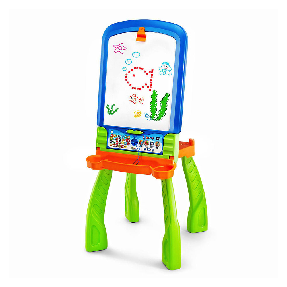 Vtech Digiart plastic art easel in blue, green and orange.