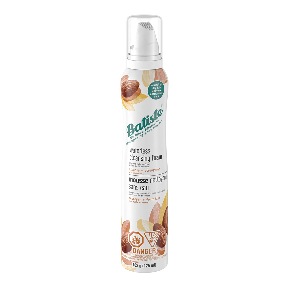 Spray can of Batiste Waterless Cleansing Foam Cleanse and Strengthen with Almond Oil dry shampoo - best dry shampoo for after the gym