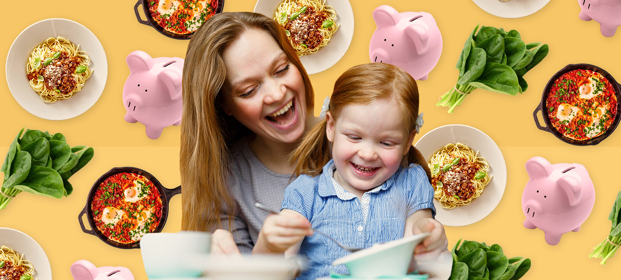 Woman with long brown hair smiling with daughter on her lap, who is eating food at the table; images of food and piggy-banks float around the mom and daughter against a yellow backdrop