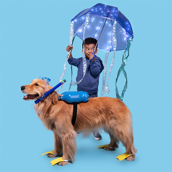 Young boy and dog dressed in DIY Jellyfish and scuba diver costumes
