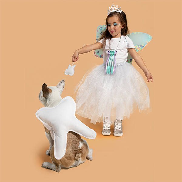 Young girl and dog dressed in DIY tooth fairy and tooth costumes