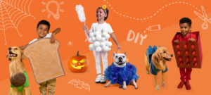 Kids and dogs dressed in matching DIY Halloween costumes including avocado and toast and Legos.