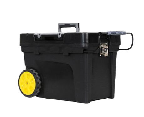 Black 12-inch Stanley mobile tool chest with black and yellow wheels.