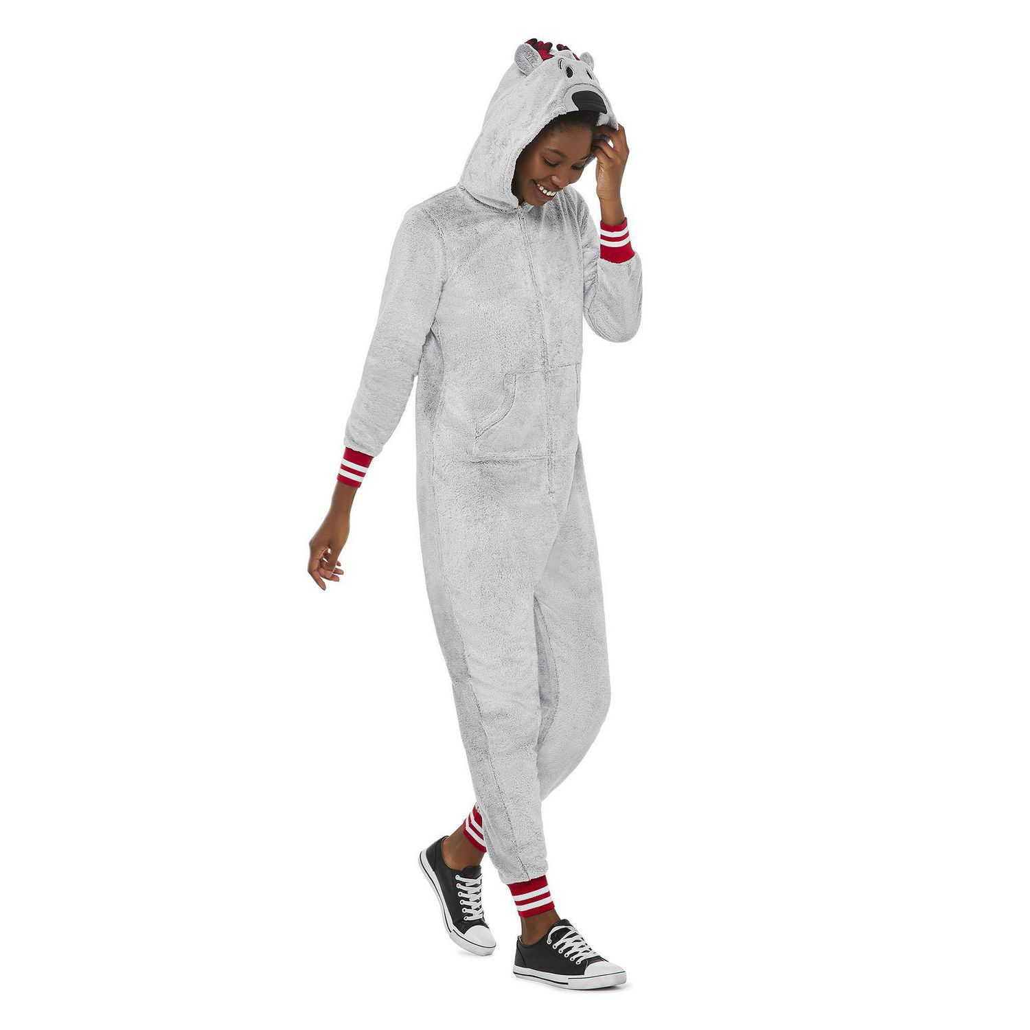 Canadiana Women's Grey One-Piece pajamas with a reindeer hood