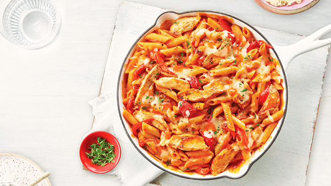 Roasted red pepper and mozzarella pasta.