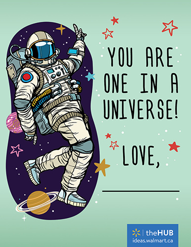 free printable valentine of an astronaut