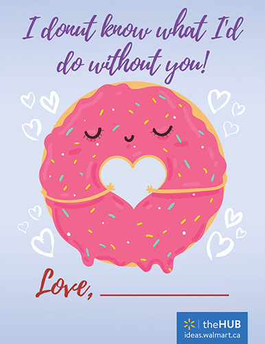 free printable valentine of pink donut for kids