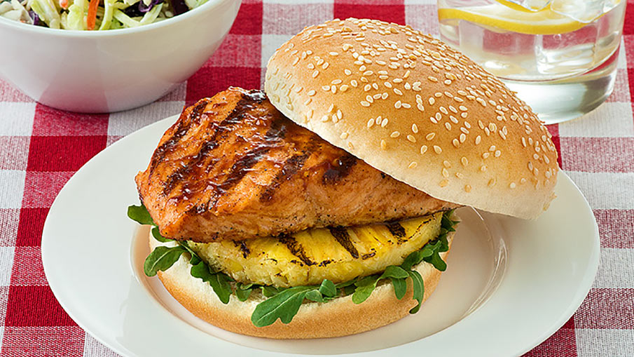 BBQ Salmon Pineapple Burger