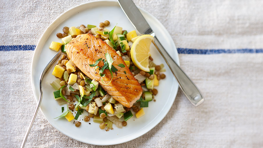 Salmon on Veggie and Leek Lentils