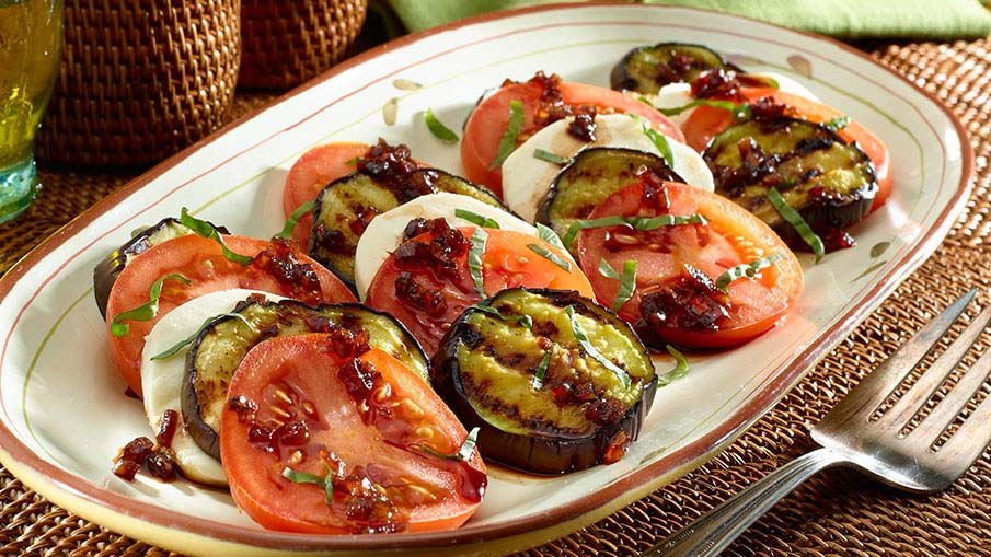 Caprese-Style Grilled Eggplant Salad