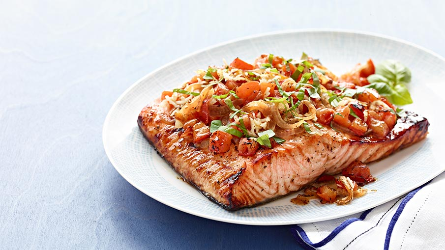 BBQ Salmon With Tomato Bruschetta Recipe