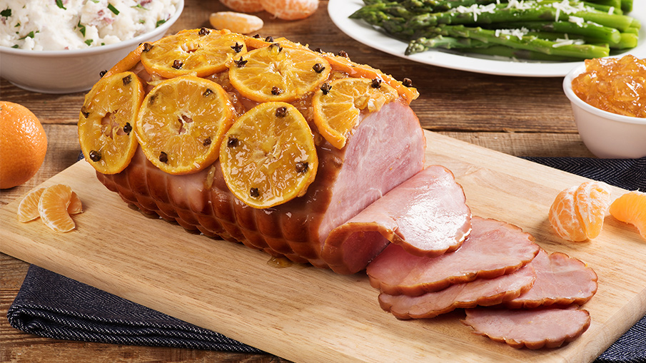 Marmalade-Baked Ham with Clementines
