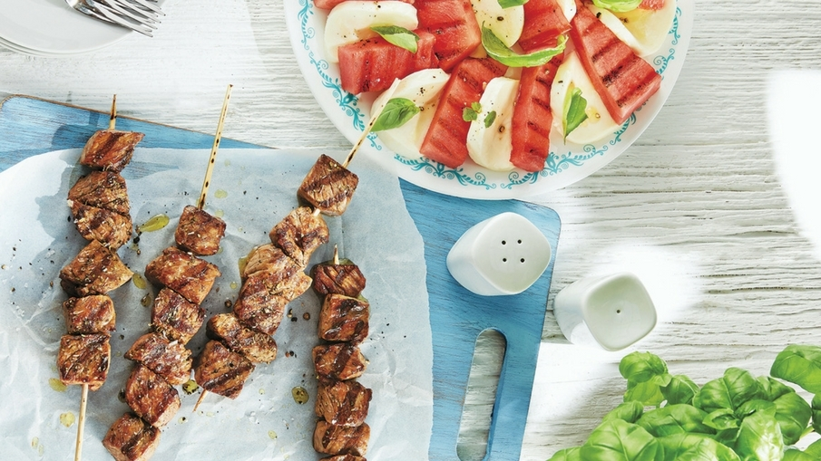 Grilled Watermelon Caprese and Italian Beef Skewers